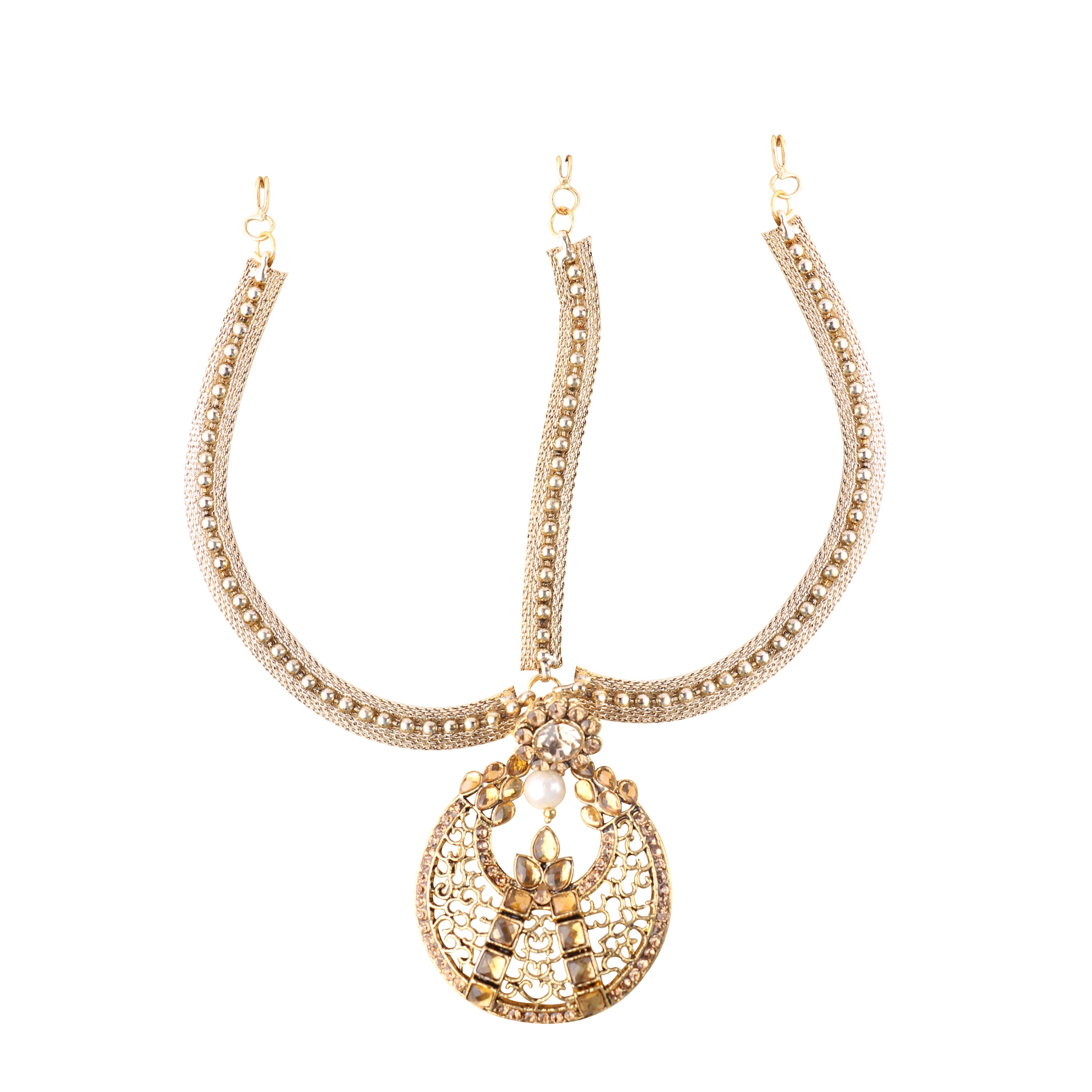 Royal Gold Plated Single Side Strand Floral Pattern Mangtika with Golden Pearls and Stones