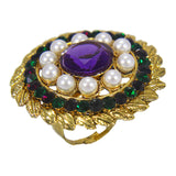Beautiful  Royal Golden Plated Round Floral Leaf Design Pearl Ring with Purple Green Crystal Stones