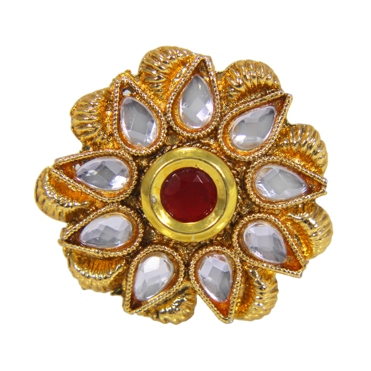 Beautiful Golden Plated Floral Design Ring with Red White Crystal Stones