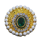 Beautiful Royal Golden Plated Round Peacock Design Pearl Ring with Green White Crystal Stones