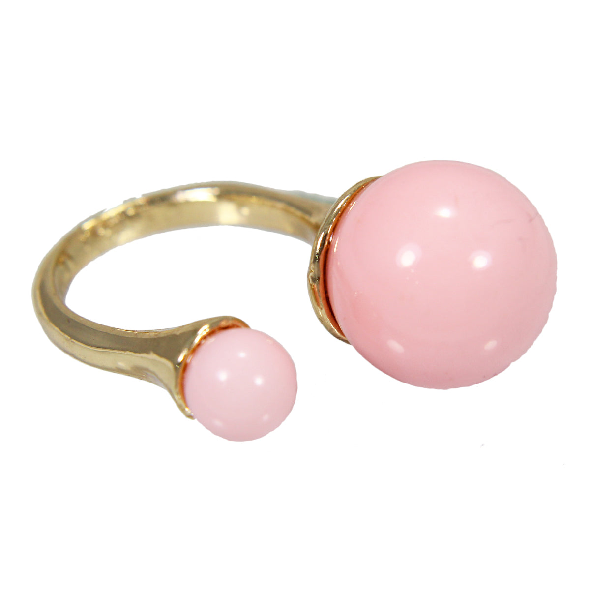 Beautiful Bohemian Pink Golden Bubble Droplet Shaped  Design Ring with Tibetian  stone Work