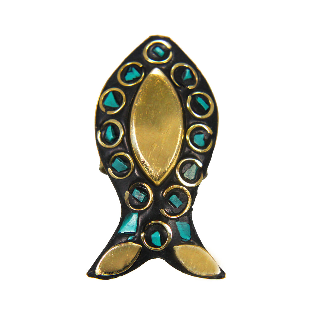 Beautiful Bohemian Black Golden Fish Design Ring with Blue Boho Tibetian Work