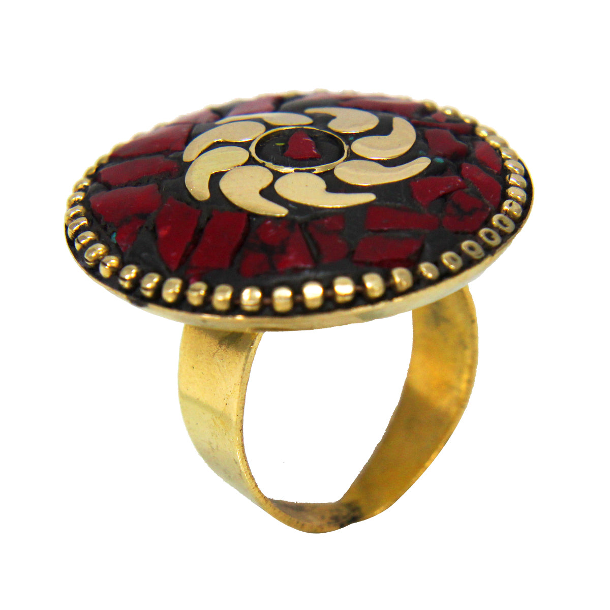 Beautiful Bohemian Black Golden Ring with  Red Boho Tibetian Work