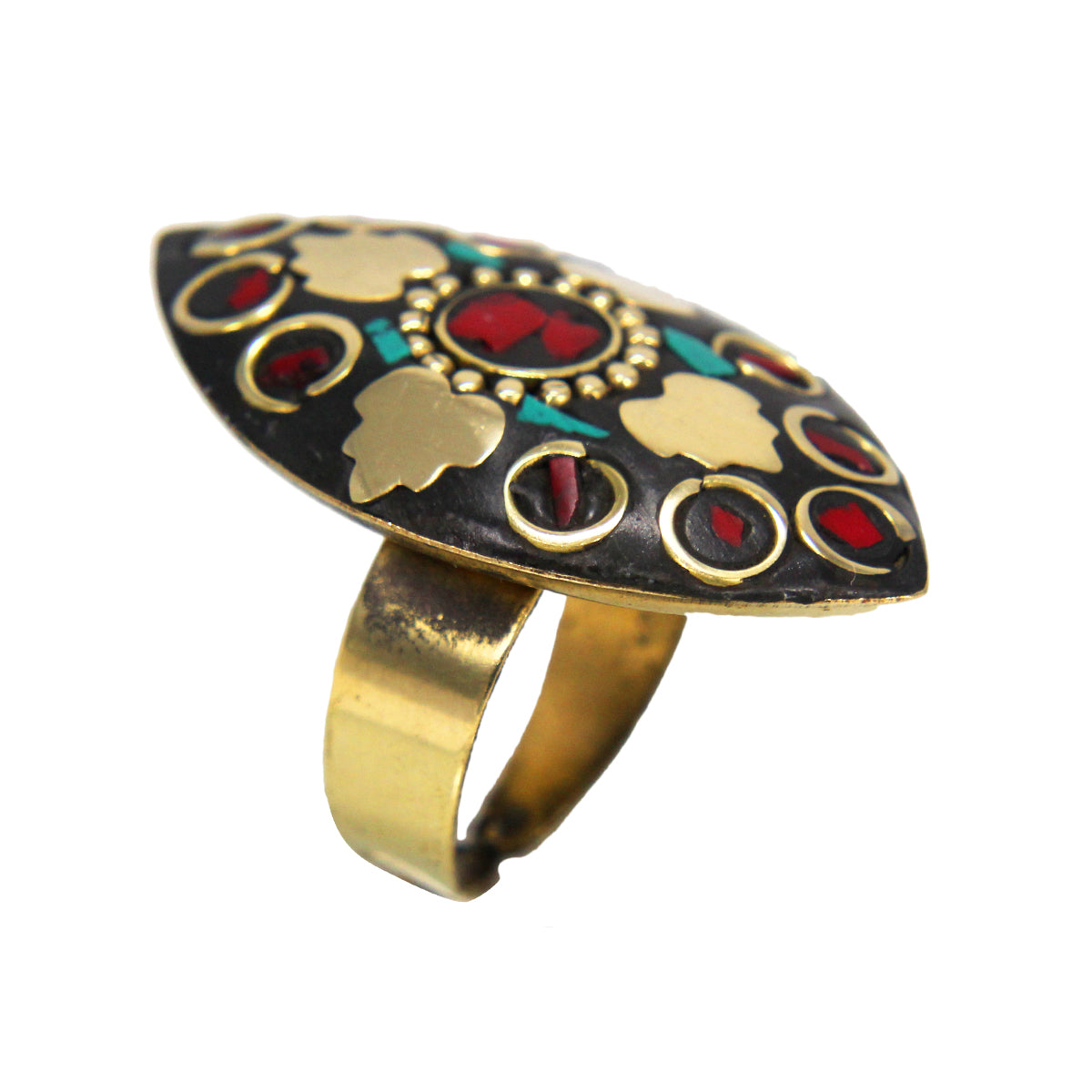 Beautiful Bohemian Black Golden Leaf Shaped Ring with Blue Red Stone Boho Tibetian Work
