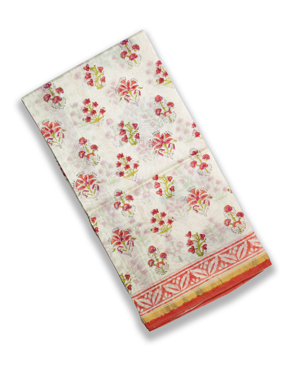 White Red Floral Chanderi Silk Hand Block Printed Kurta Set unstitched Fabric with Dupatta
