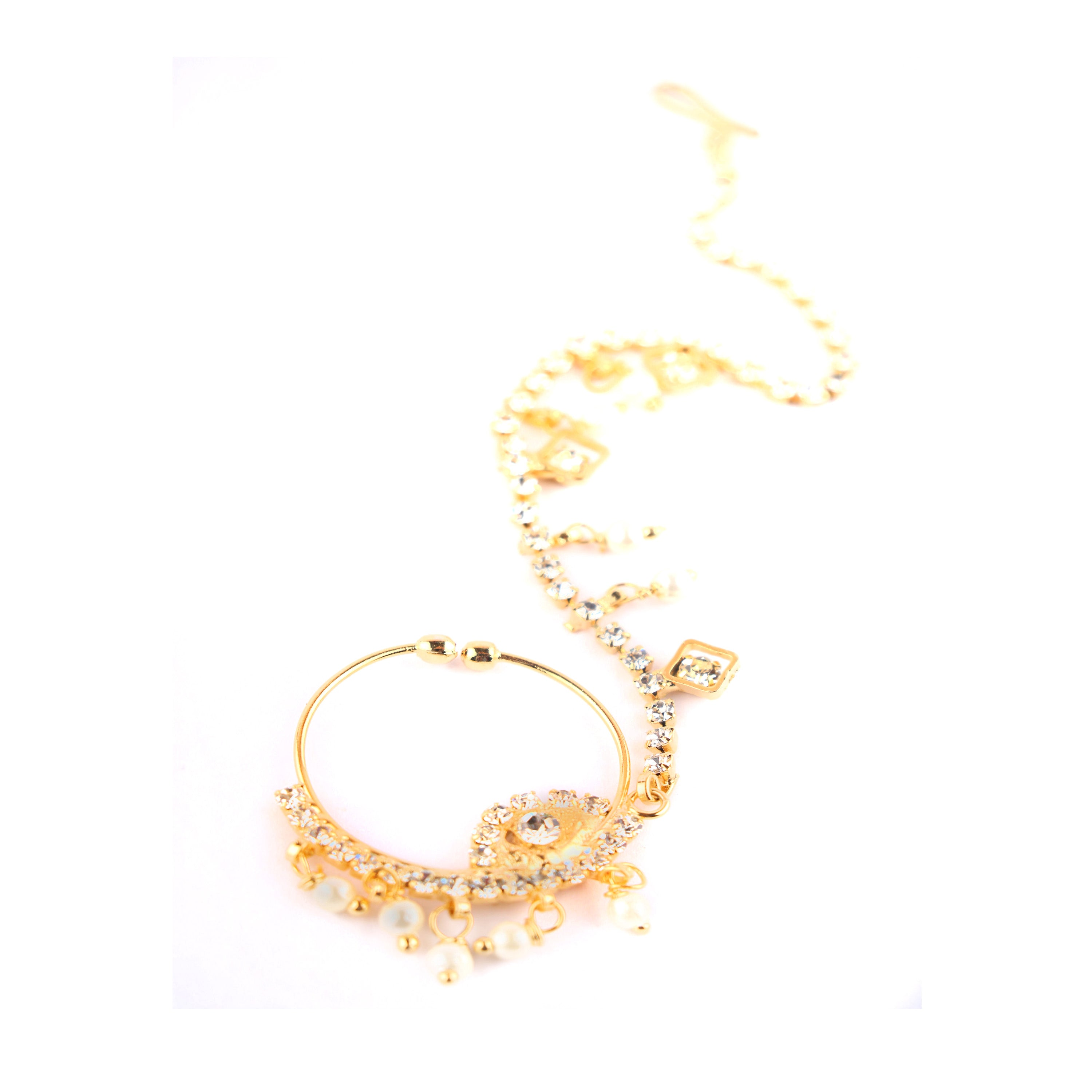 Traditional Designer Gold Plated Large Hoop Nosering with CZ Crystal Stones