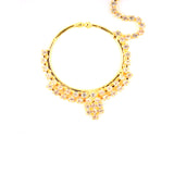 Traditional Designer Gold Plated Large Hoop Nose ring with CZ Crystal Stones
