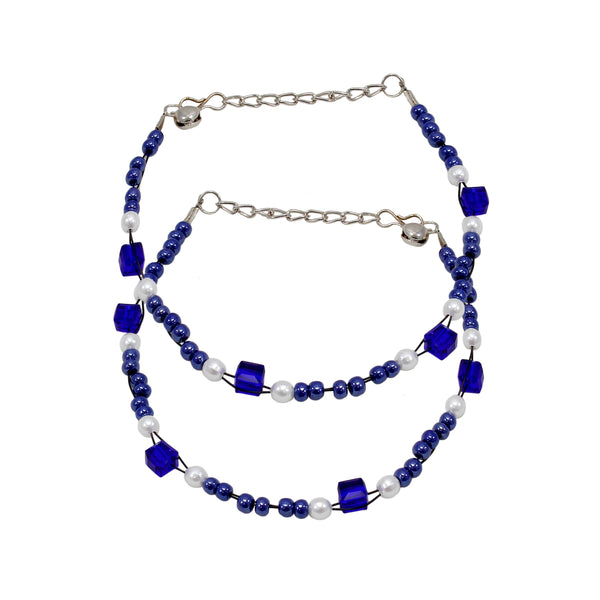 Trendy Designer Blue and White Pearl Anklet  with Blue Beads
