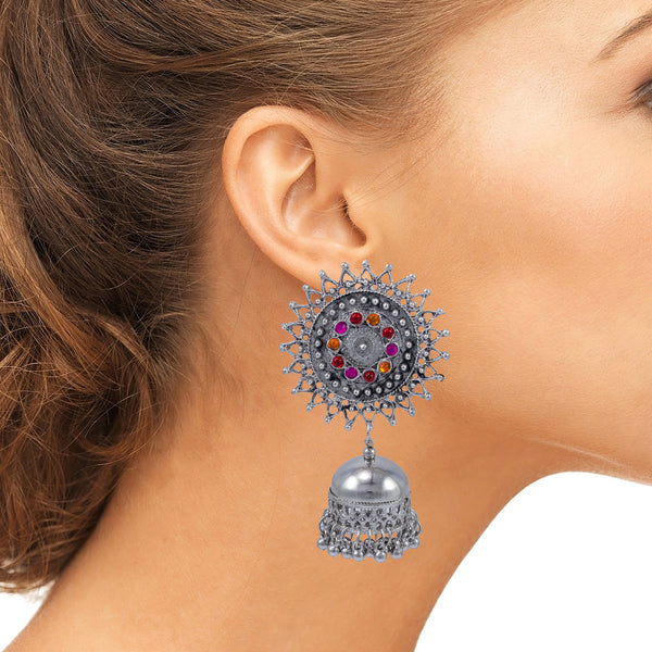 Beautiful Antique Silver Afghani Oxidised Studded Pink Red and Orange Stones Earrings for Women