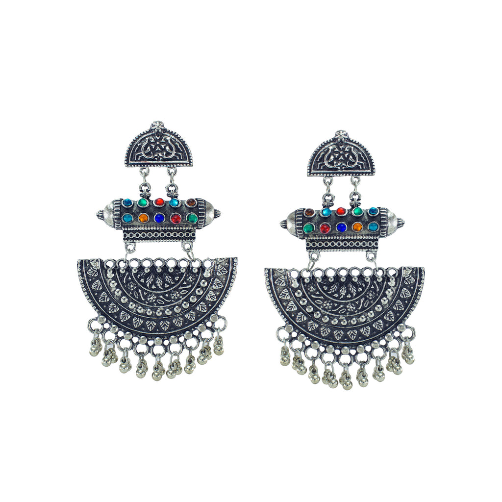 Abhinn Multicolour Stone Silver Blue Oxidised Earrings For Women
