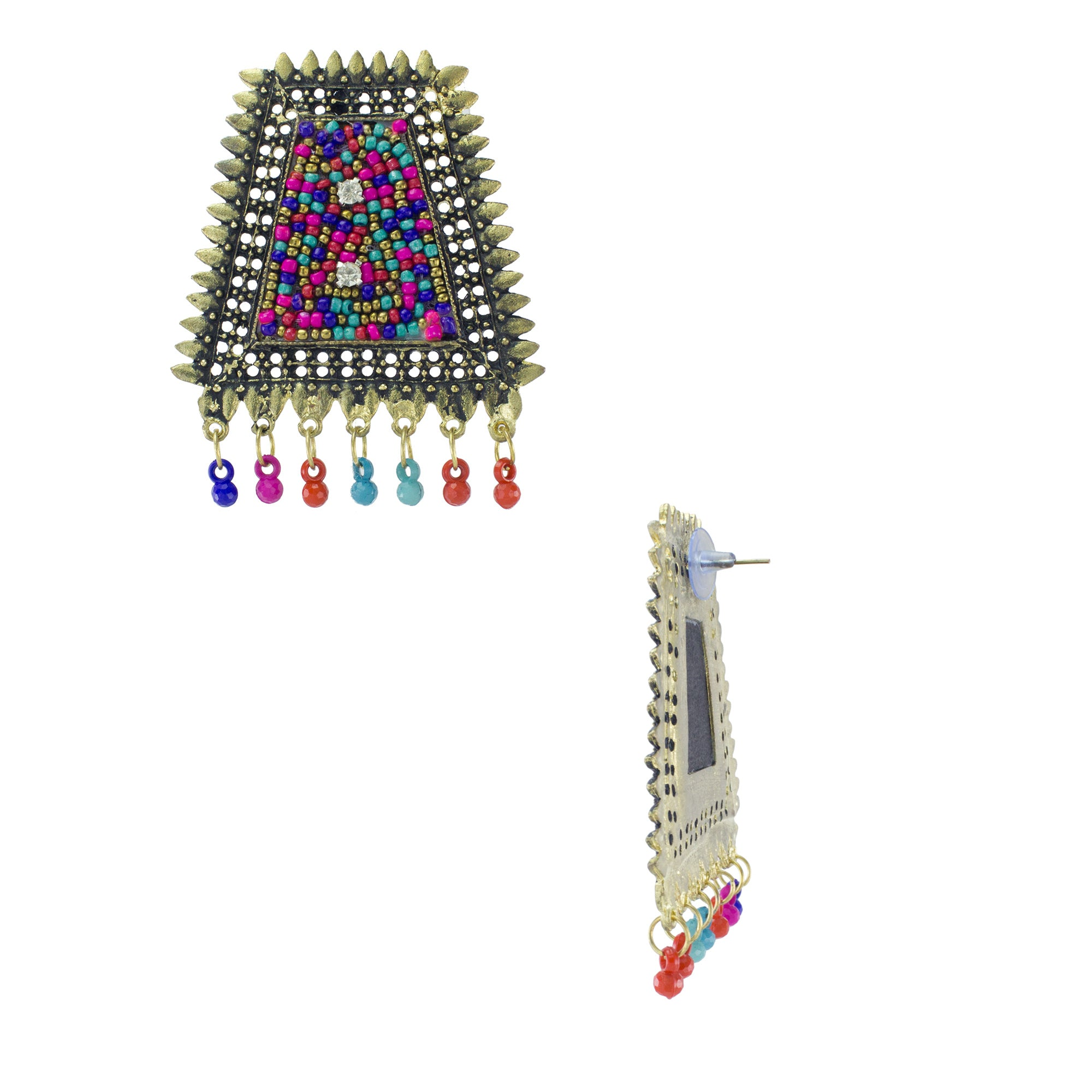 Abhinn Embroidery Golden Alloy Oxidized Earrings With Multi-Color Beads for Women