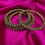Beautiful Designer Golden Plated Bangles Set with Kundan Stones with Jali Design (Set of 4)