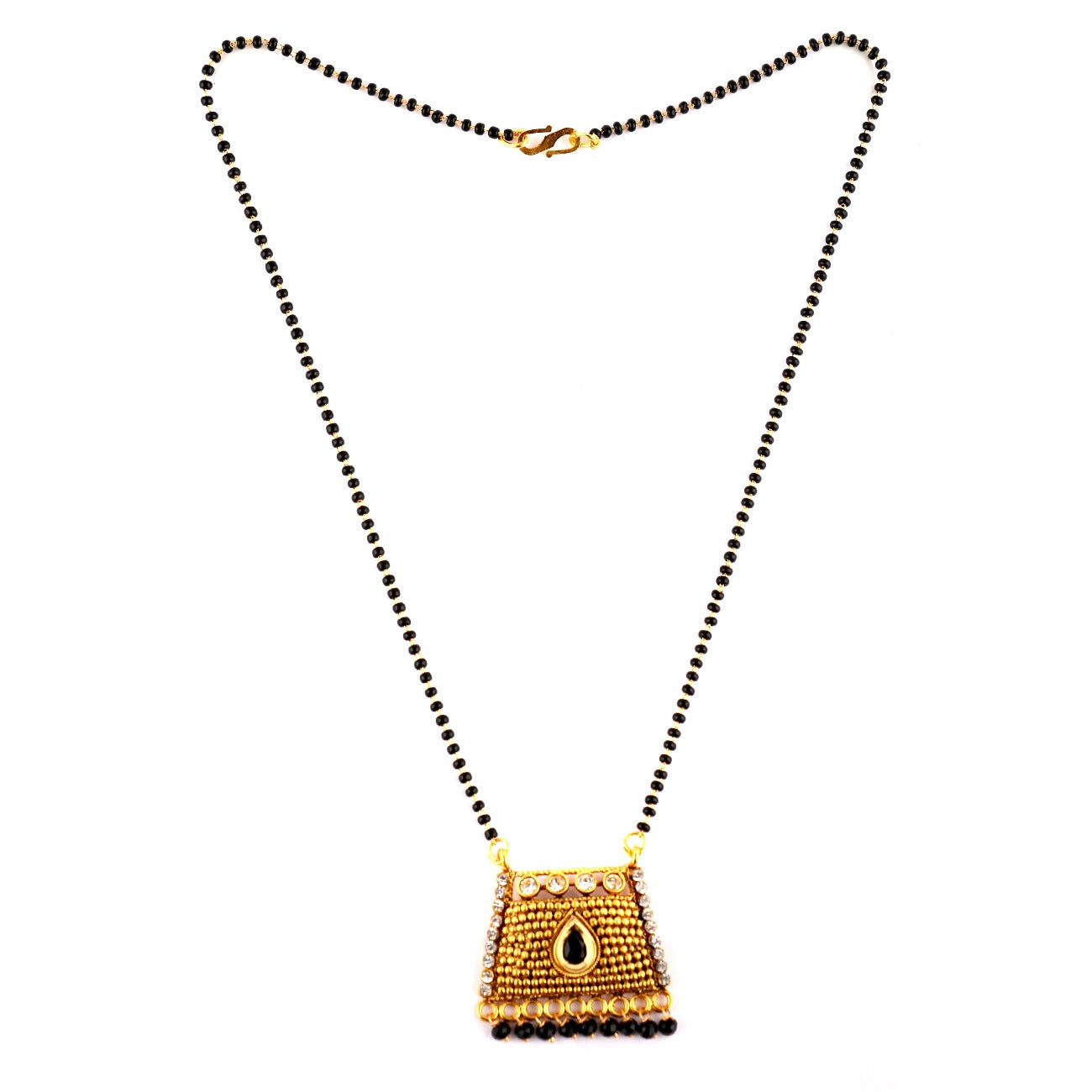 Beautiful Designer  Golden Mangalsutra  with Black and White Cz Crystal Stone and Golden pearls Pendant
