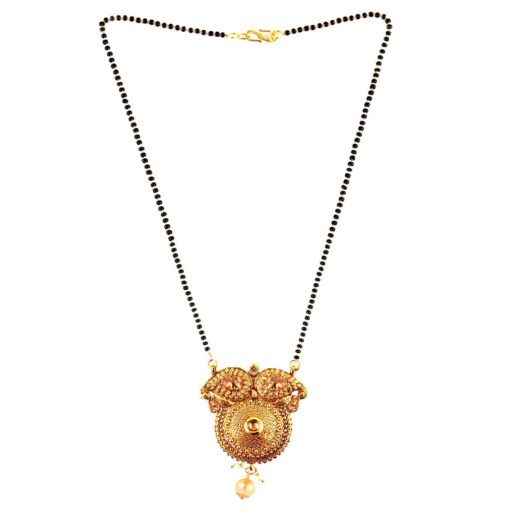Beautiful Designer Golden Mangalsutra with Cz stone Golden Pearls Pendant