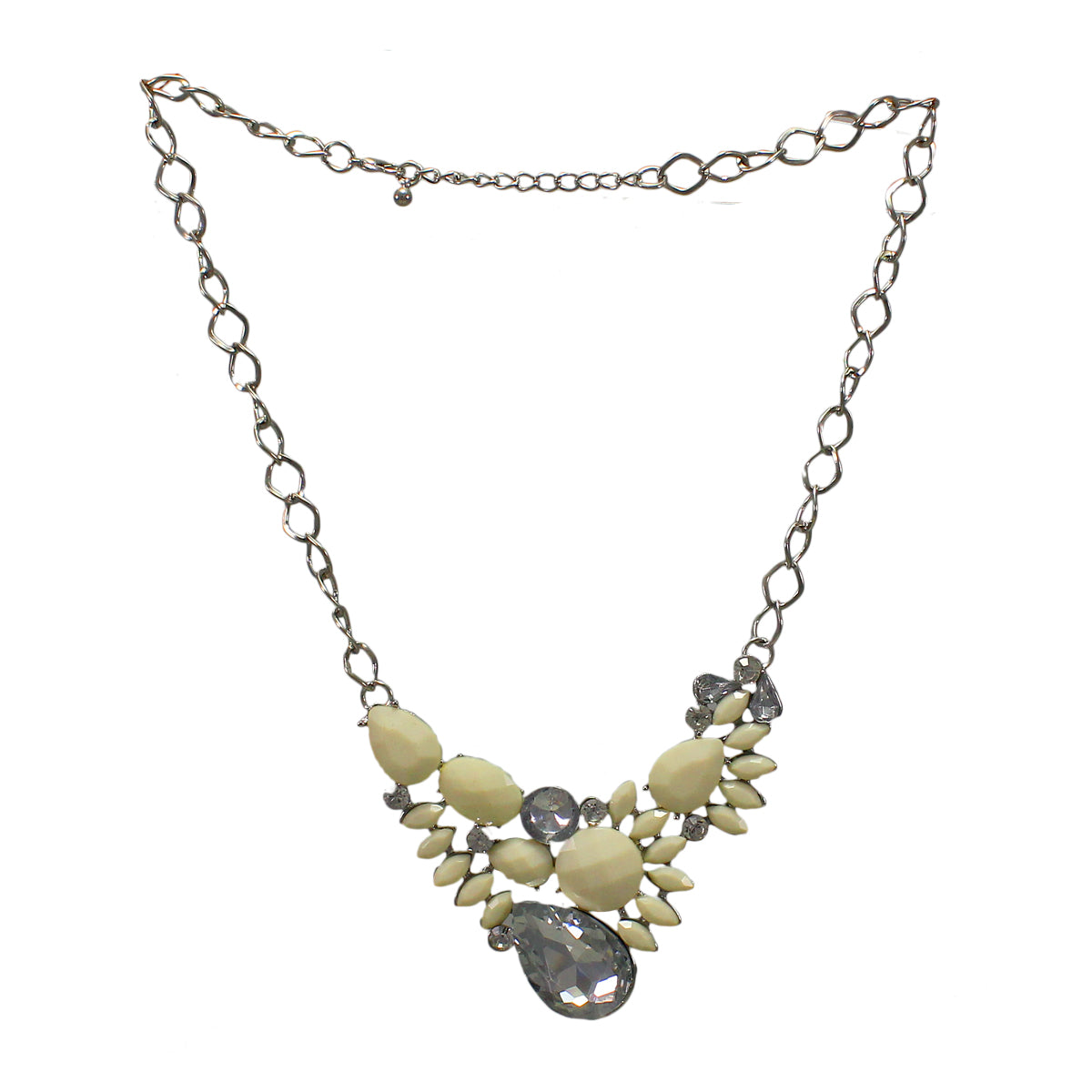 Stylish Designer Necklace with Statement White  Stones