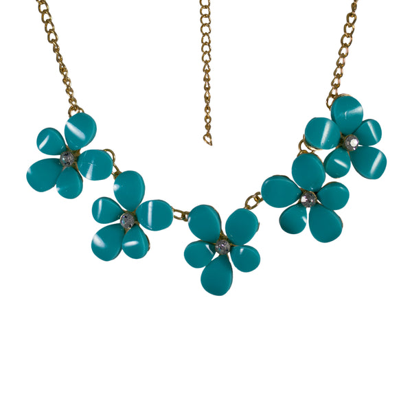 Beautiful Blue Floral Designer Statement Necklace with Crystal Stones