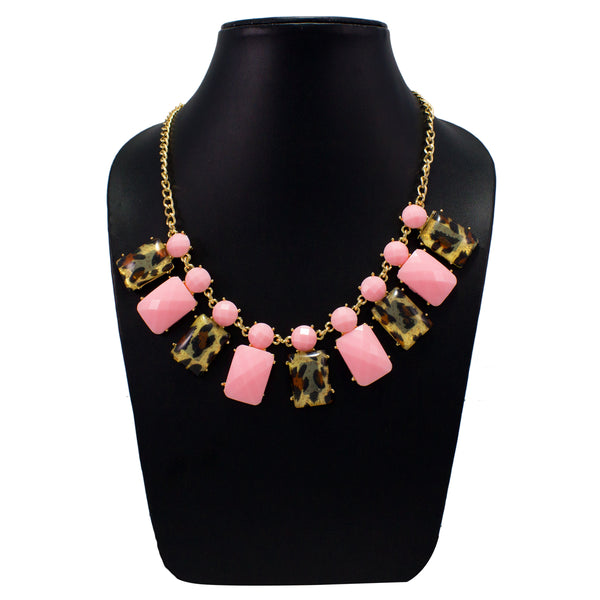 Stylish Designer Pink Necklace with Animal Printed Stones