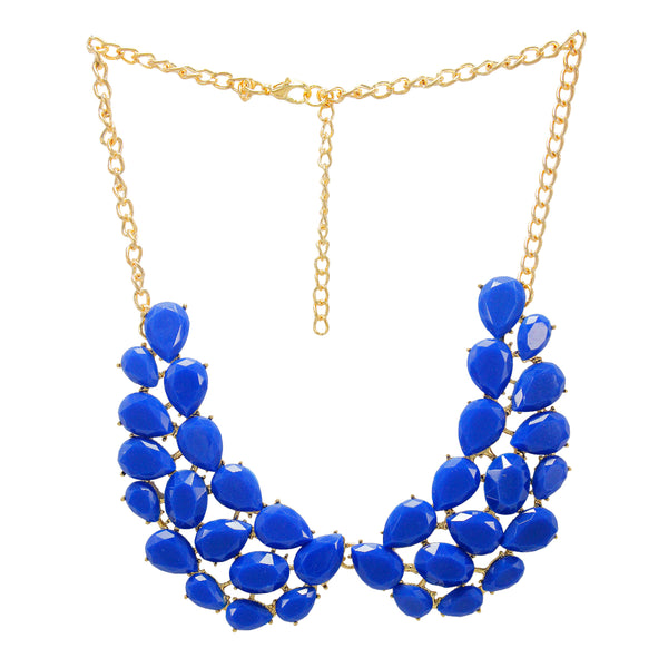 Beautiful Designer  Golden Floral Peacock Necklace with Blue crystal Stones
