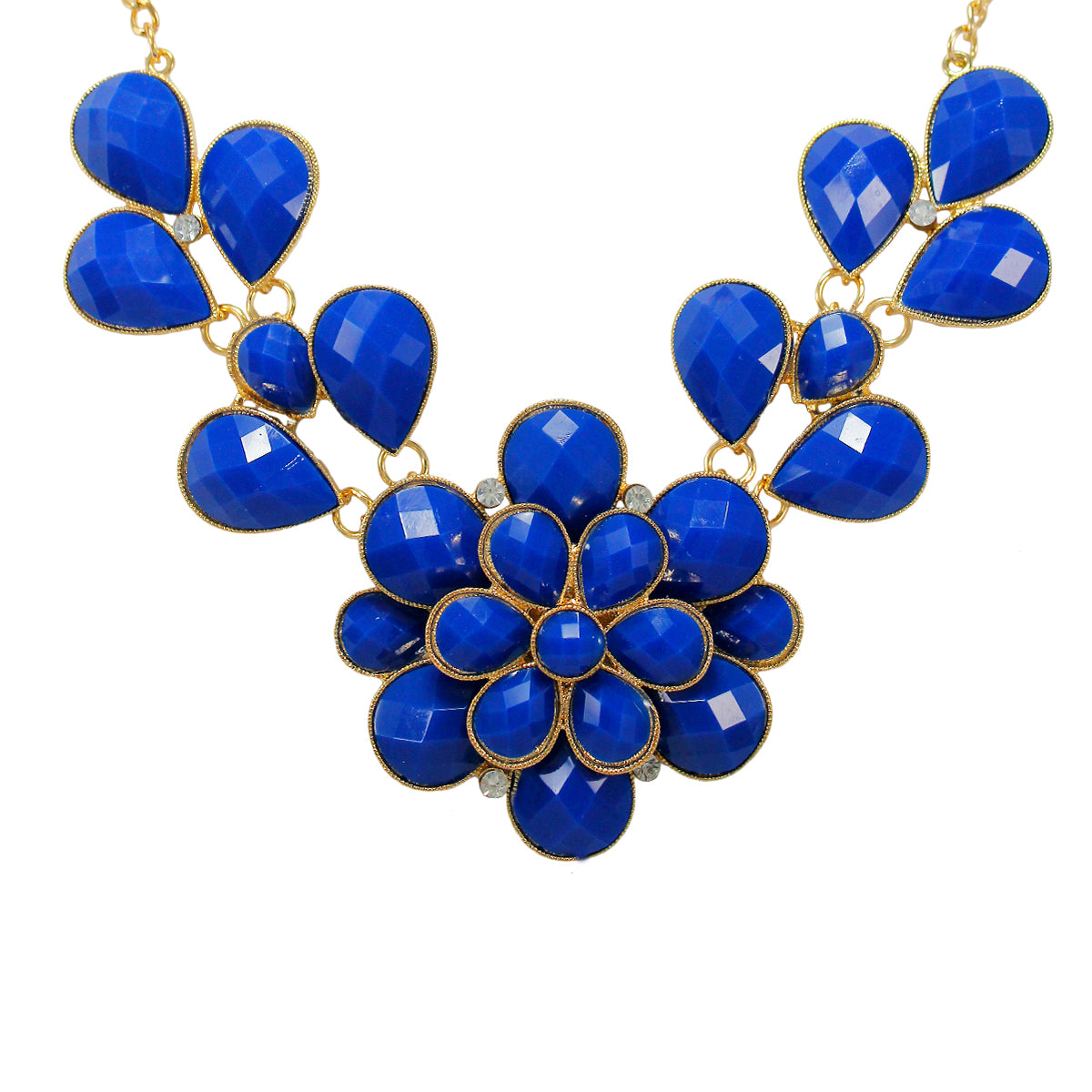 Beautiful Designer  Golden Floral Necklace with Blue crystal Stones