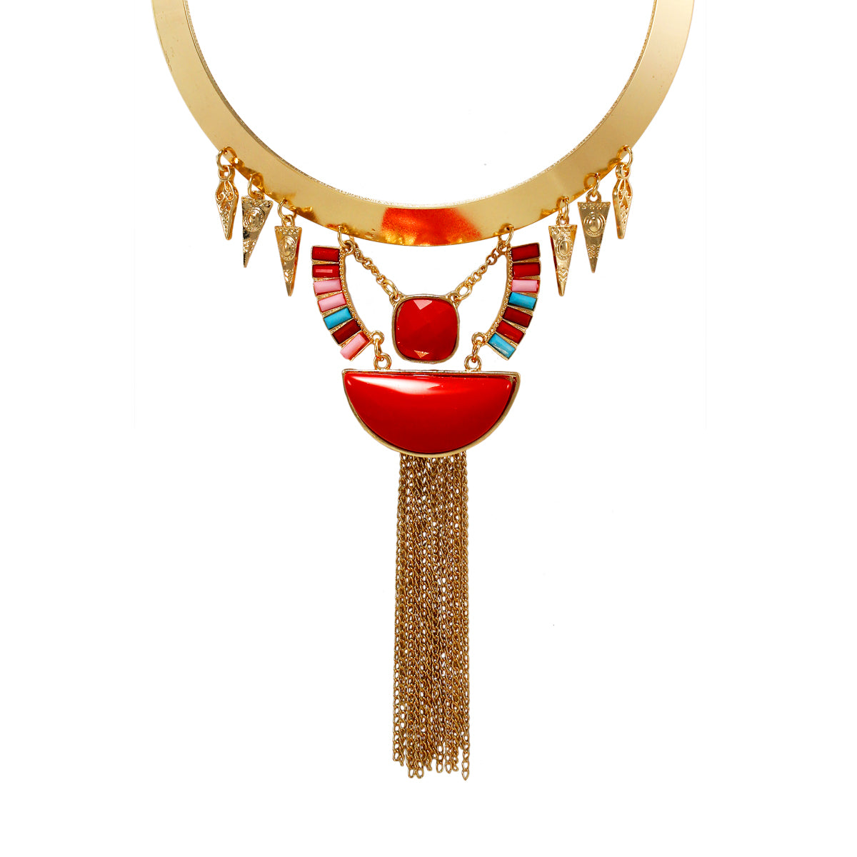 Stylish Designer Golden Necklace with Red Stones and chain Dangler