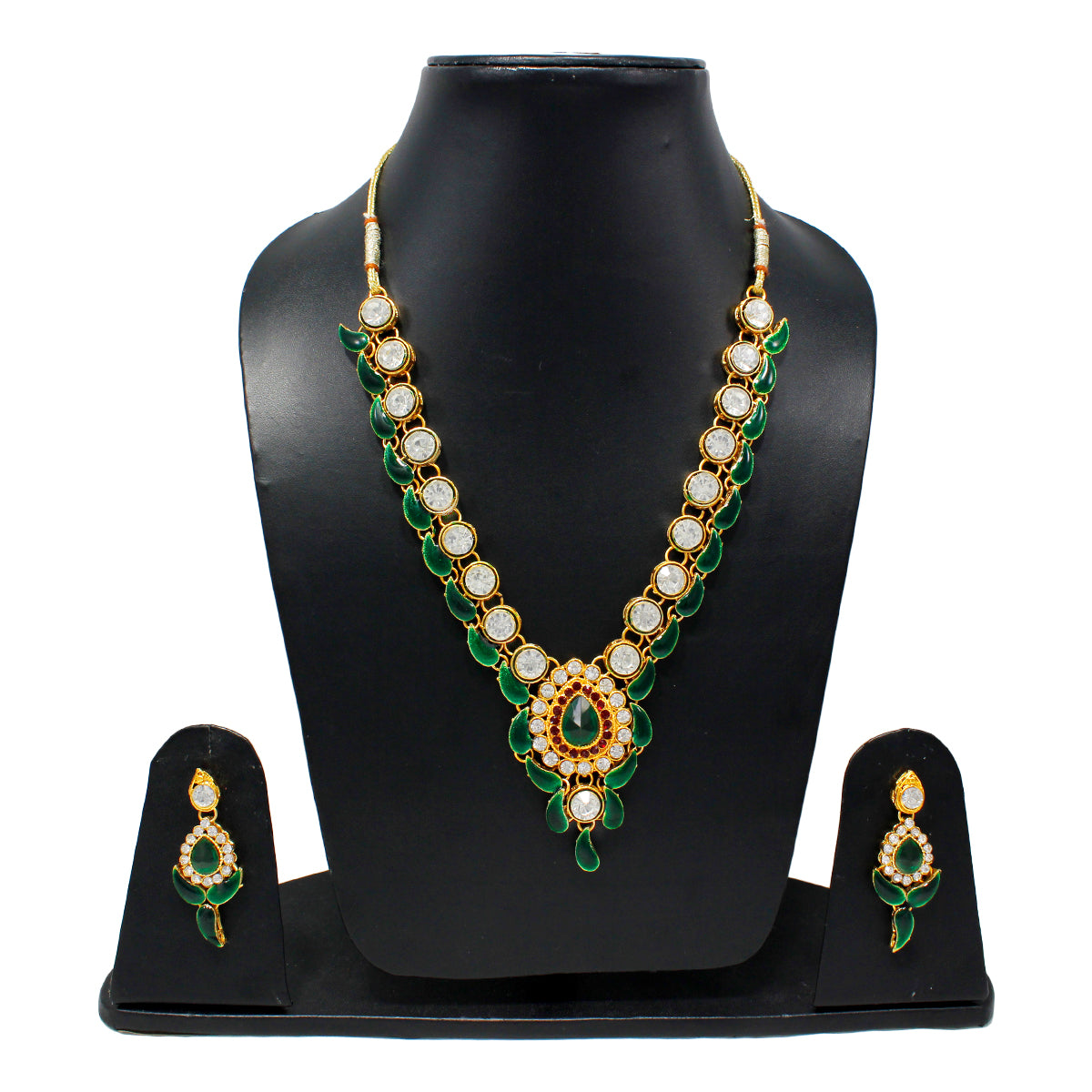 Royal Gold Plated Designer Kundan Stone Rani Har Mango Design Necklace and Earrings with White Green Stones