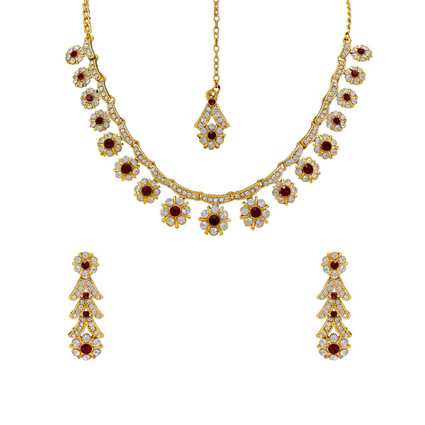 Royal Gold Plated Designer Kundan  Crystal Stone Floral Design Necklace and  Stud Earings with  White Mehroon Stones
