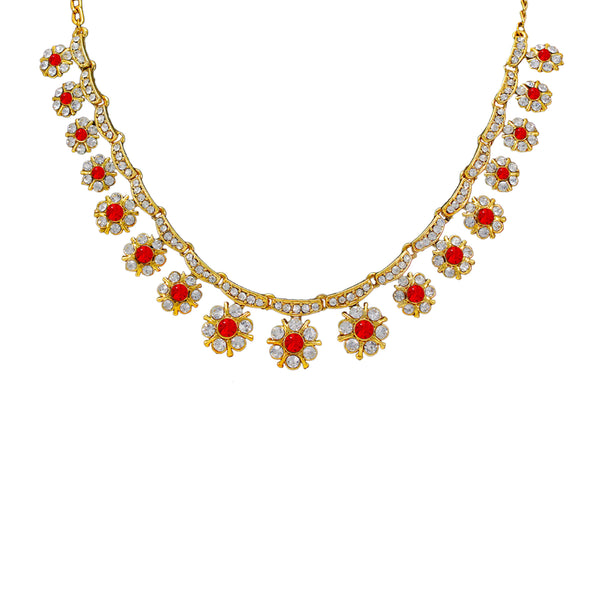 Royal Gold Plated Designer Kundan  Crystal Stone Floral Design Necklace and  Stud Earings with  White Red Stones