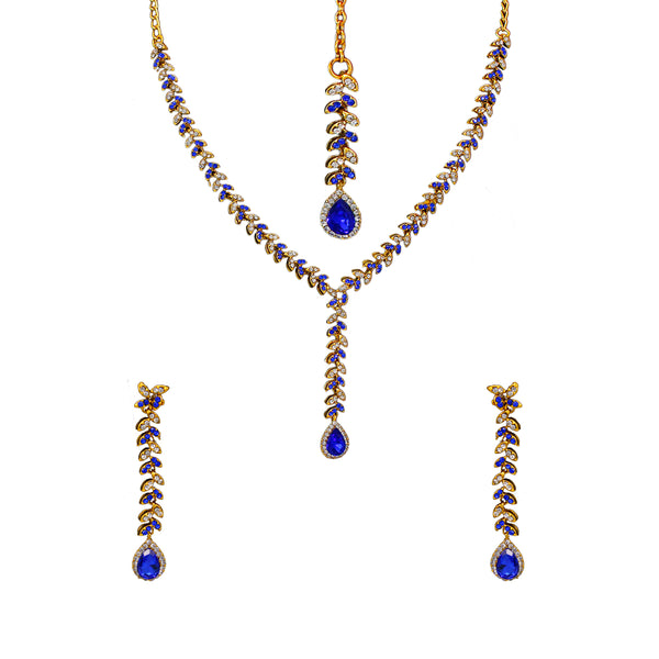 Royal Gold Plated Designer Kundan Stone  Leaf Design Necklace and  Dangler Earings with White Blue Stones  with Mangtika