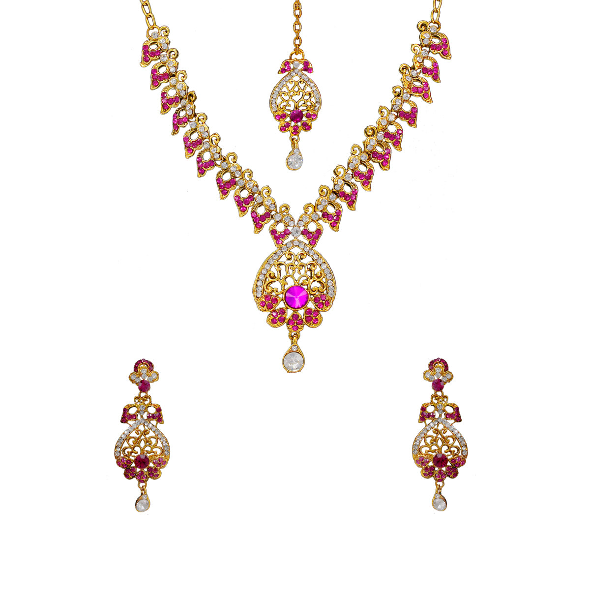 Royal Gold Plated Designer Kundan Stone Pink Petal Design Necklace and  Earrings with White Crystal Stones