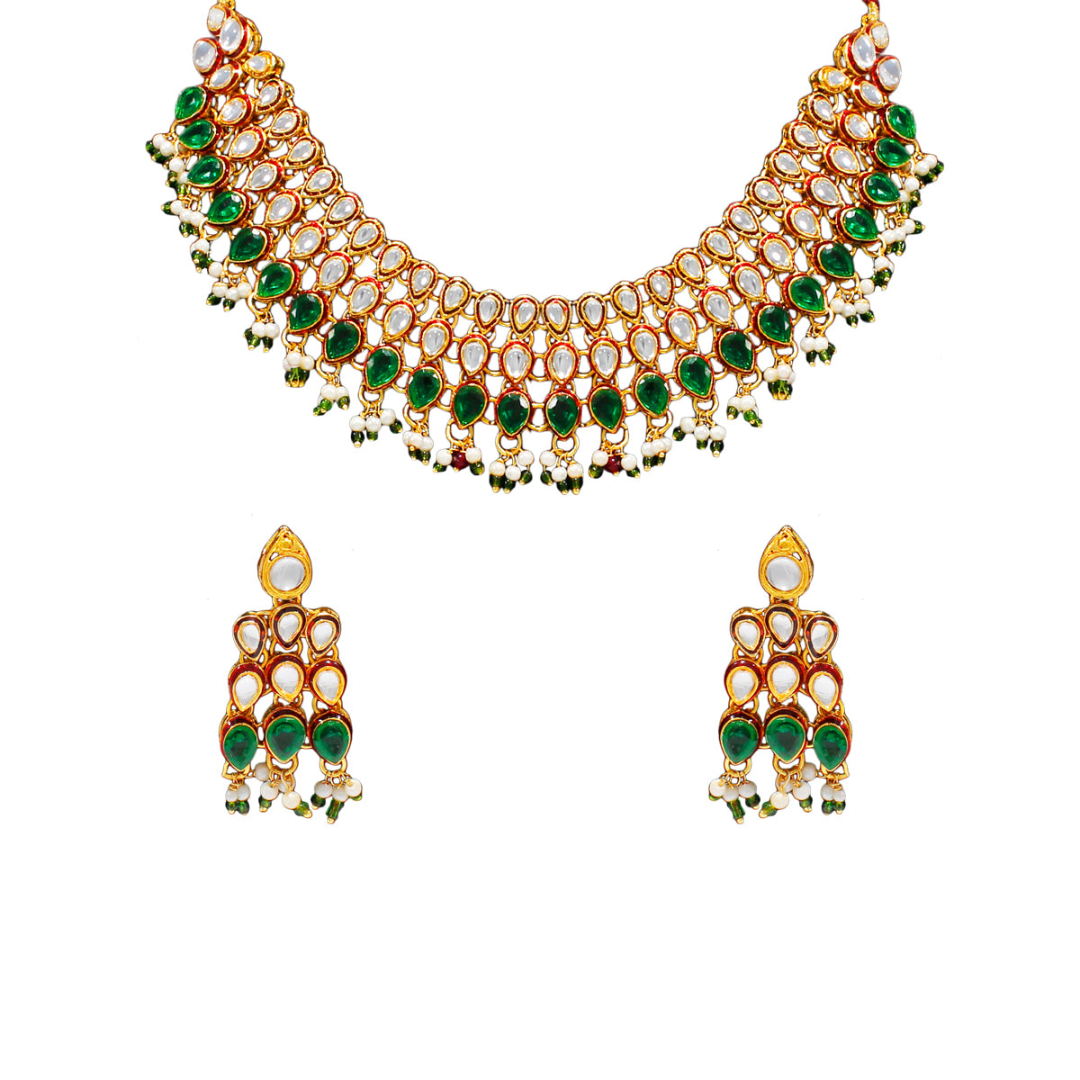 Royal Gold Plated Designer Kundan Stone Rani Har  Design Droplet shape Necklace and Earrings with White Green Stones  and Pearls