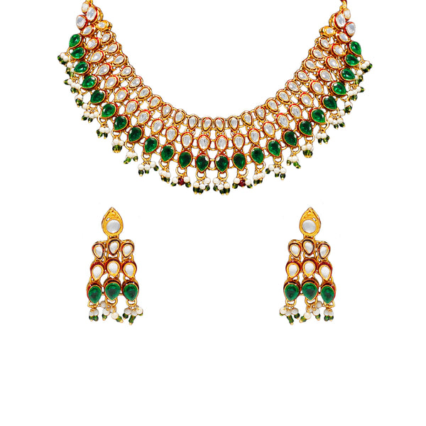 Royal Gold Plated Designer Kundan Stone Rani Har  Design Droplet shape Necklace and Earings with White Green Stones  and Pearls