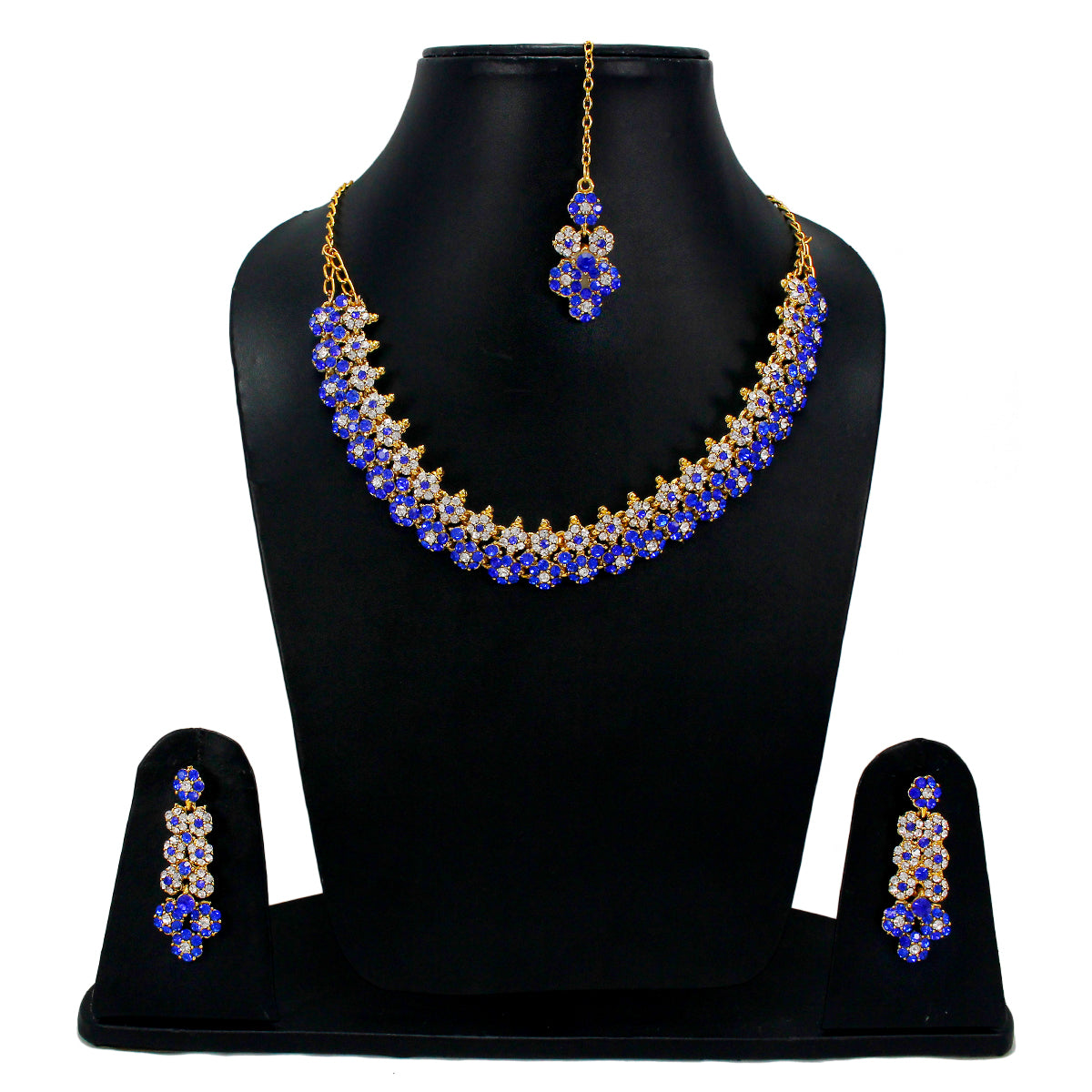 Royal Gold Plated Designer Kundan Stone Floral Design Necklace and  Earrings with White Blue Stones Crystals