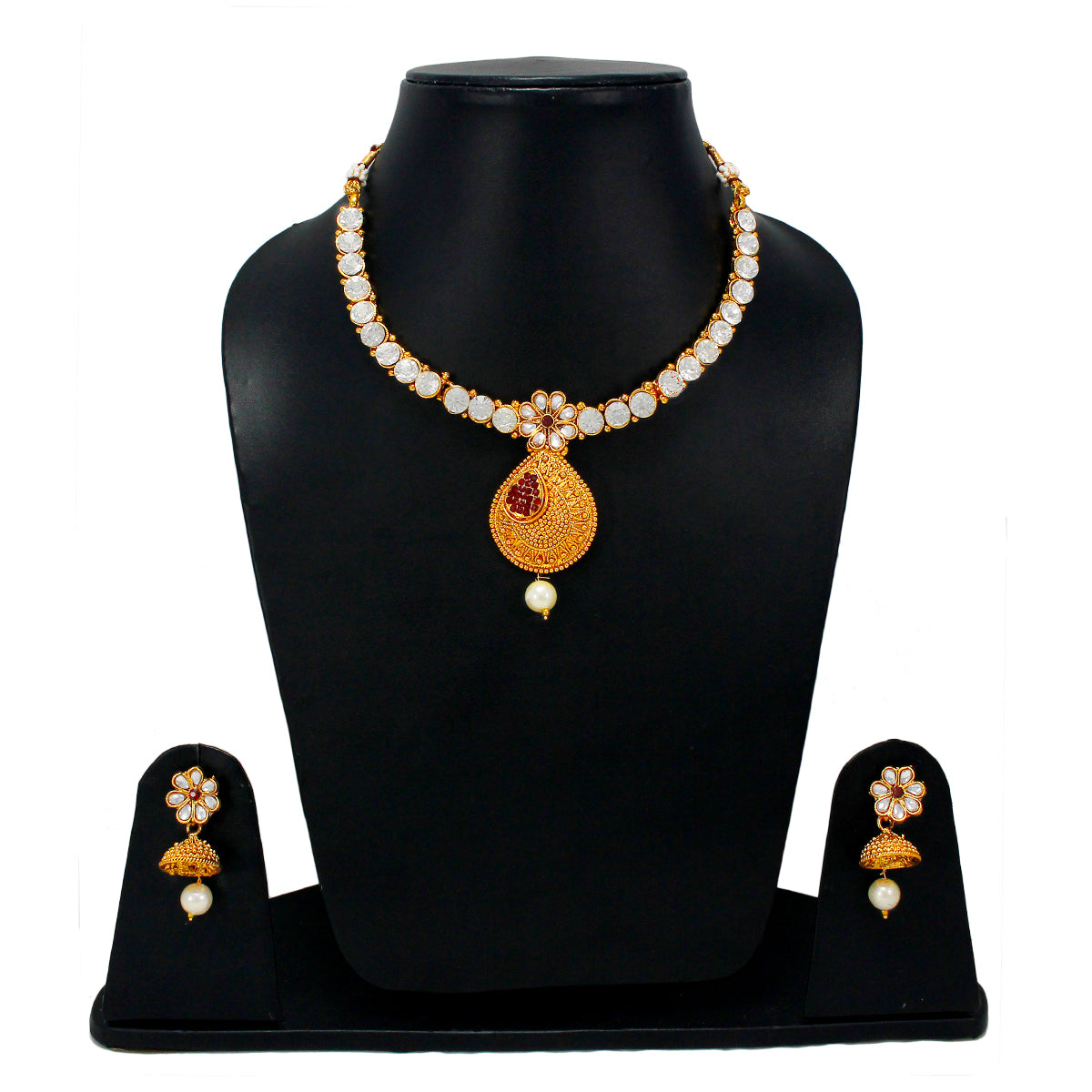 Royal Gold Plated Designer Kundan Stone Rani Har Design Necklace Floral Drop Shape and Earrings with White  Red Stones  and Pearls