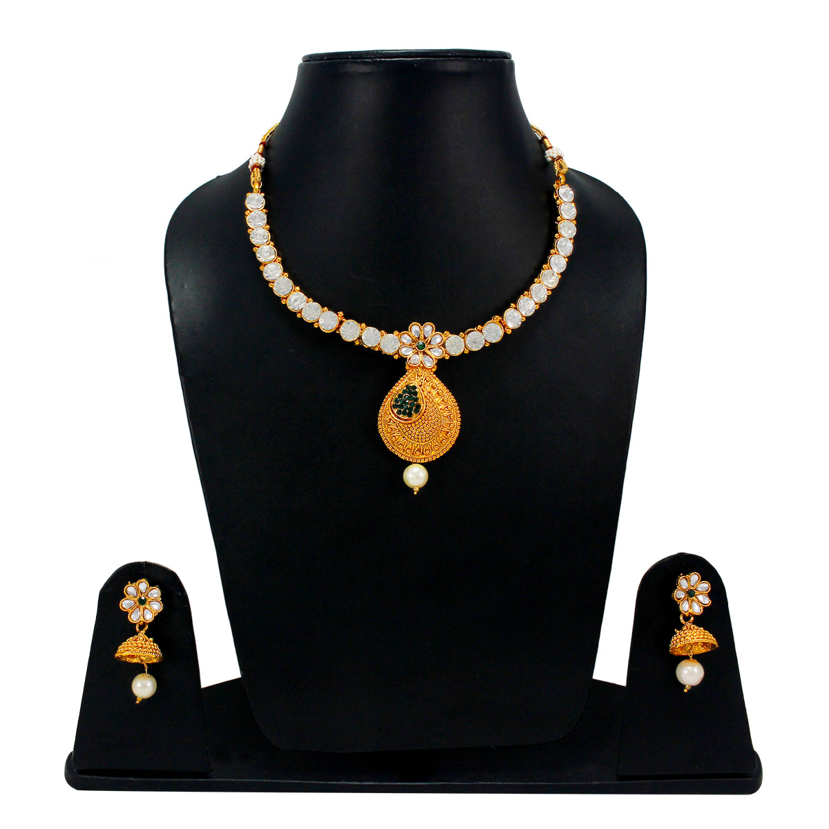 Royal Gold Plated Designer Kundan Stone Rani Har Design Necklace Floral Drop Shape and Earrings with White Green Stones  and Pearls