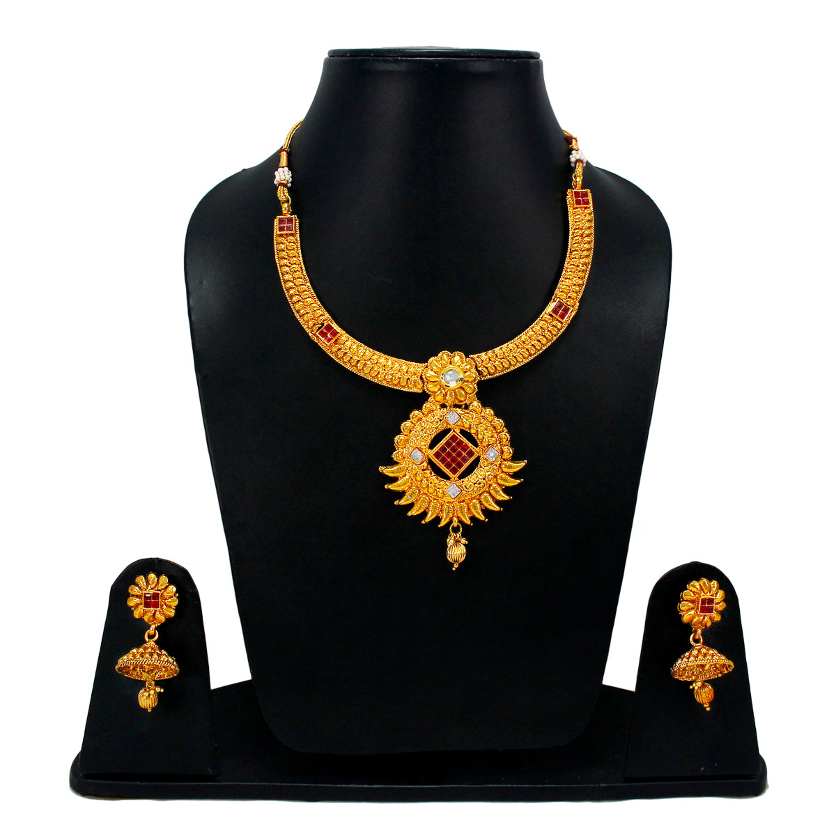 Royal Gold Plated Designer Kundan Stone Floral Rani Har Design Necklace and Earrings with White  Red White Stones