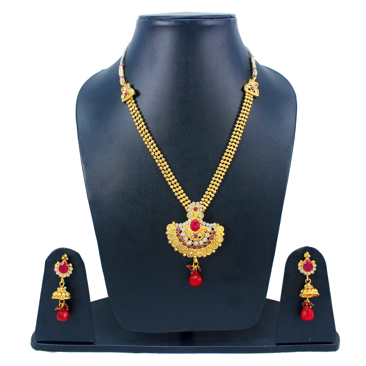 Royal Gold Plated Designer Kundan Stone Rani Har Design Necklace and  Jhumka Earrings with White  Red Stones and Pearl Chain
