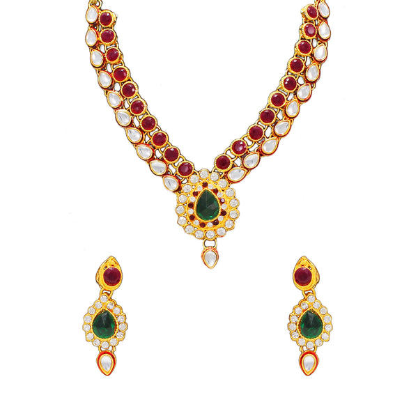 Royal Gold Plated Designer Kundan Stone Rani Har Design Droplet shape Necklace and Earings with White  Red Green Stones