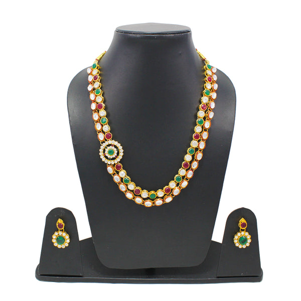 Royal Gold Plated Designer Kundan Stone Round Rani Har Design Necklace and Earings with White Red  Green Stones