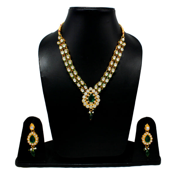 Royal Gold Plated Designer Kundan Stone Leaf Design Necklace and Earings with White Green Stones and  Pearls