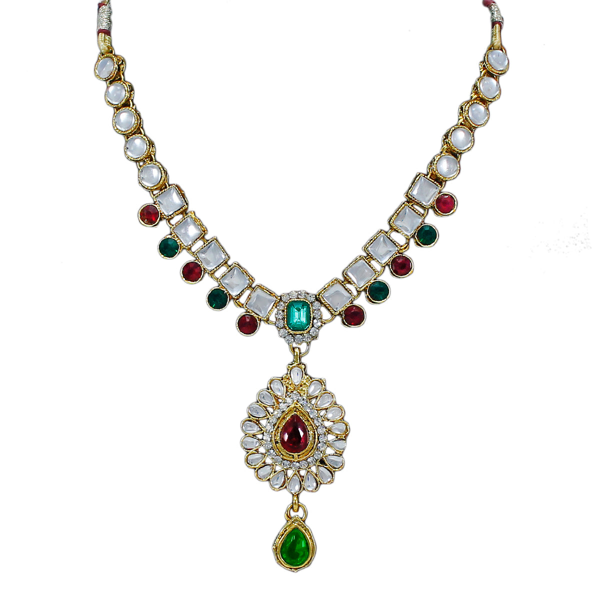 Royal Gold Plated Designer Kundan Stone Green Red Leaf Design Necklace and  Earrings with White Square Shaped Crystal Stones