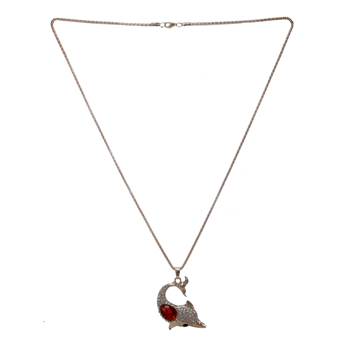 Beautiful Designer Dolphin Pendant With Red and white White Crystal Stones