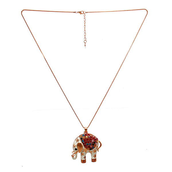 Beautiful Designer White Elephant Pendant with Multicolor Beads