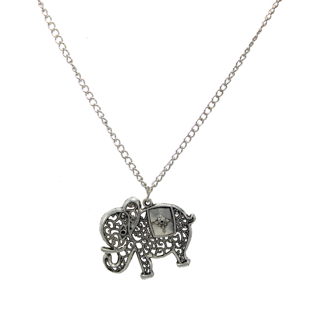 Beautiful Designer Silver Elephant Pendant with Floral Work