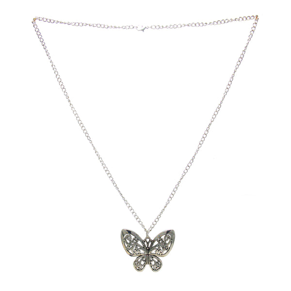 Beautiful Designer Silver Butterfly Pendant with Floral Work