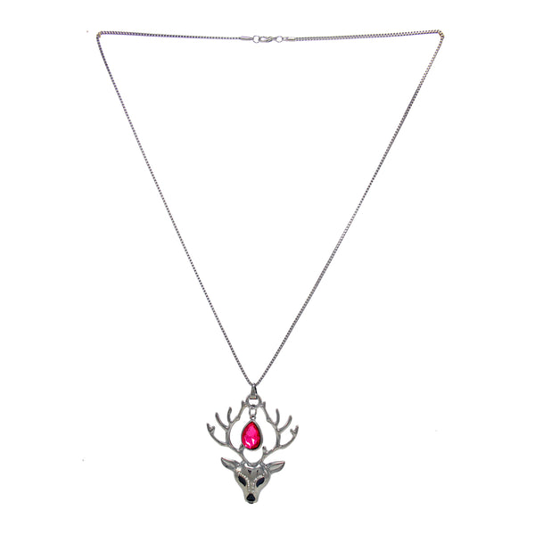 Beautiful Designer Silver Reindeer Pendant with Pink Crystal stones