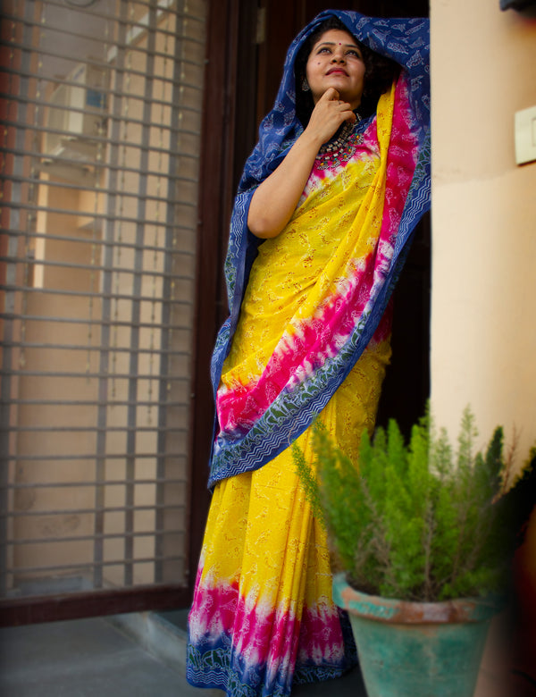 Multi color Handblock Printed Mulmul Cotton Saree with  Sparrow Calligraphy