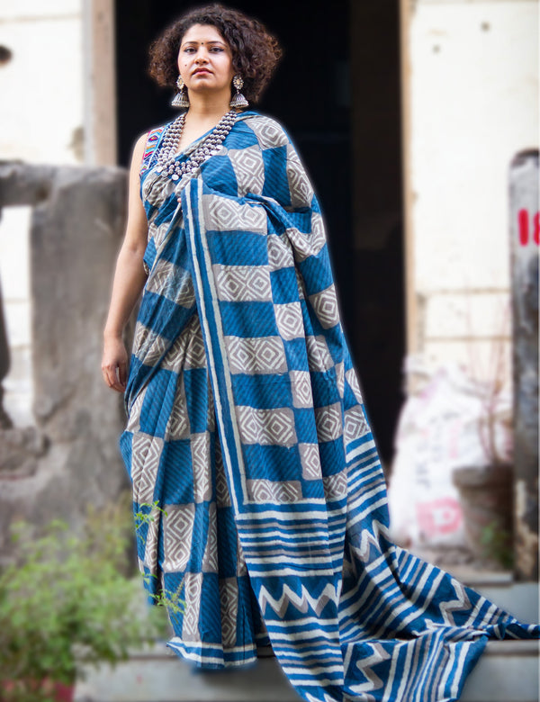Blue Handblock Printed Mulmul Cotton Saree with Grey Checks