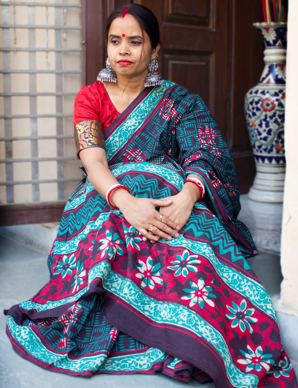 Green Handblock Printed Mulmul Cotton Saree with Red Floral Dabu Patterns