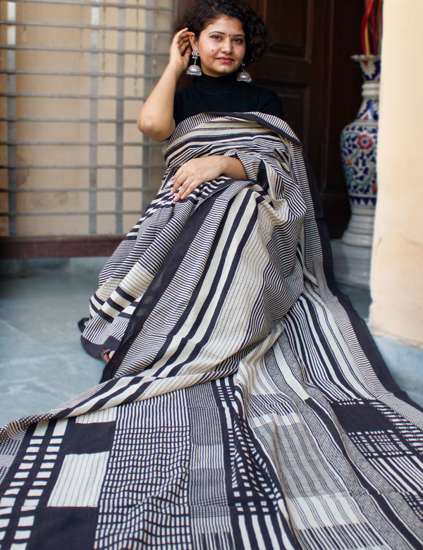 White Handblock Printed Mulmul Cotton Saree with Black Stripes