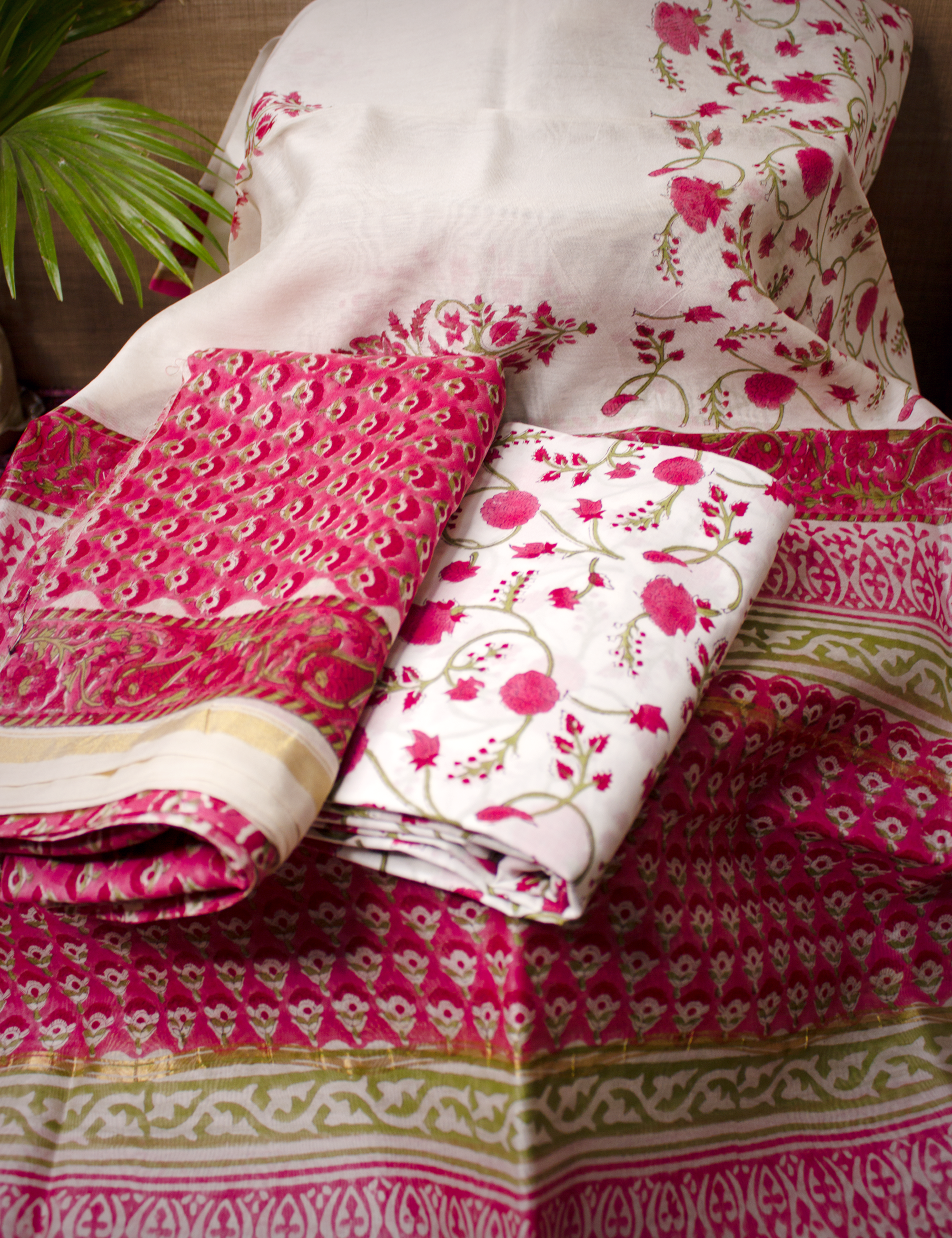 Pink Red Floral Chanderi Silk Hand Block Printed Kurta set unstitched Fabric with Dupatta